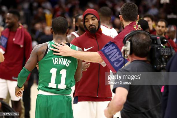 Smith of the Cleveland Cavaliers and Kyrie Irving of the Boston Celtics shake hands after a Cavaliers 10299 victory at Quicken Loans Arena on October...