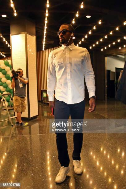 R Smith of the Cleveland Cavaliers arrives at the arena before Game Two of the Eastern Conference Finals against the Boston Celtics during the 2017...