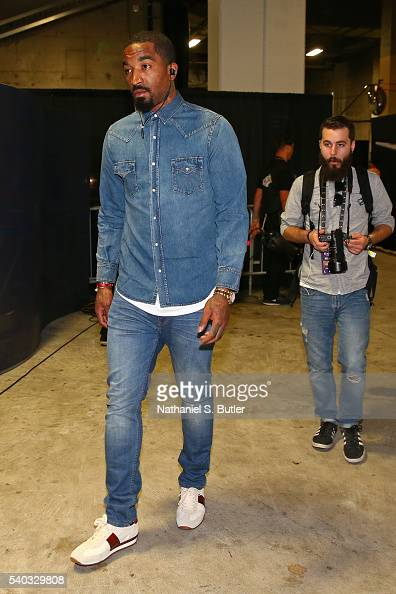R Smith of the Cleveland Cavaliers arrives before Game Five of the 2016 NBA Finals against the Golden State Warriors on June 13 2016 at ORACLE Arena...
