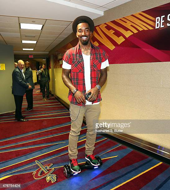 R Smith of the Cleveland Cavaliers arrives on a Phunkeeduck prior to Game Four of the 2015 NBA Finals at The Quicken Loans Arena on June 11 2015 in...