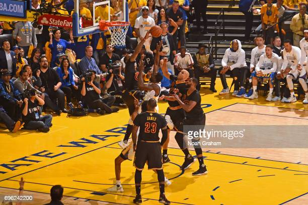 Smith of the Cleveland Cavaliers blocks the shot of Draymond Green of the Golden State Warriors in Game Five of the 2017 NBA Finals on June 12 2017...