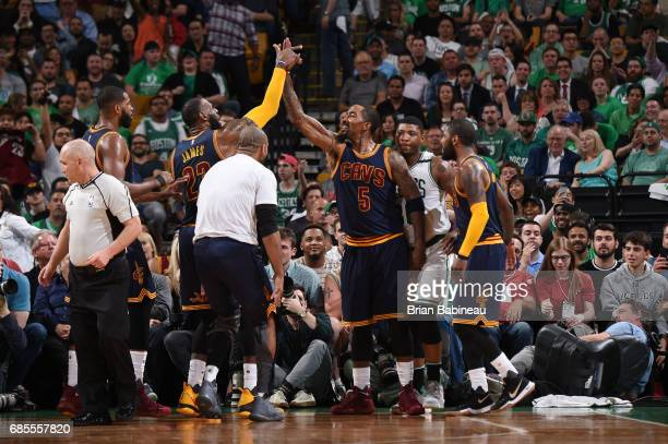R Smith of the Cleveland Cavaliers celebrates during Game Two of the Eastern Conference Finals of the 2017 NBA Playoffs on May 19 2017 at the TD...