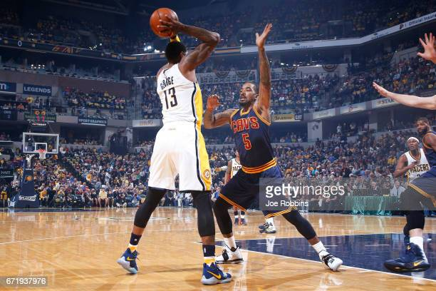 Smith of the Cleveland Cavaliers defends against Paul George of the Indiana Pacers in the first half of Game Four of the Eastern Conference...