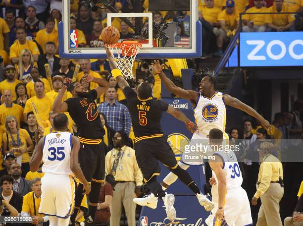 Smith of the Cleveland Cavaliers drives to the basket against the Golden State Warriors in Game Five of the 2017 NBA Finals on June 12 2017 at Oracle...