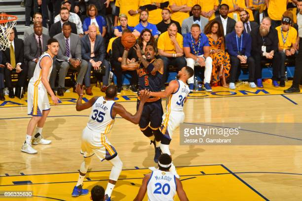 Smith of the Cleveland Cavaliers drives to the basket and passes the ball against the Golden State Warriors in Game One of the 2017 NBA Finals on...
