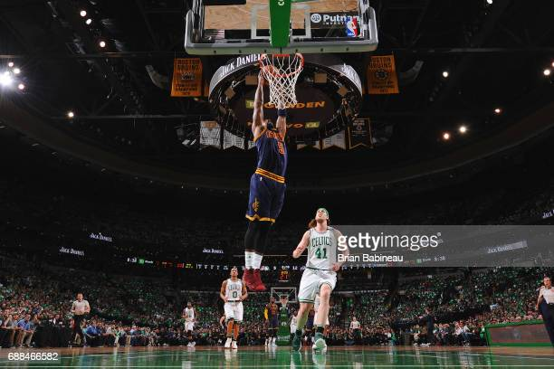 R Smith of the Cleveland Cavaliers goes up for a dunk against the Boston Celtics in Game Five of the Eastern Conference Finals of the 2017 NBA...