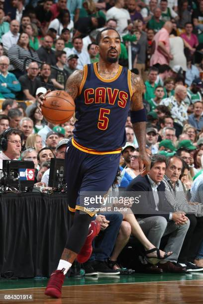 R Smith of the Cleveland Cavaliers handles the ball against the Boston Celtics in Game One of the Eastern Conference Finals during the 2017 NBA...