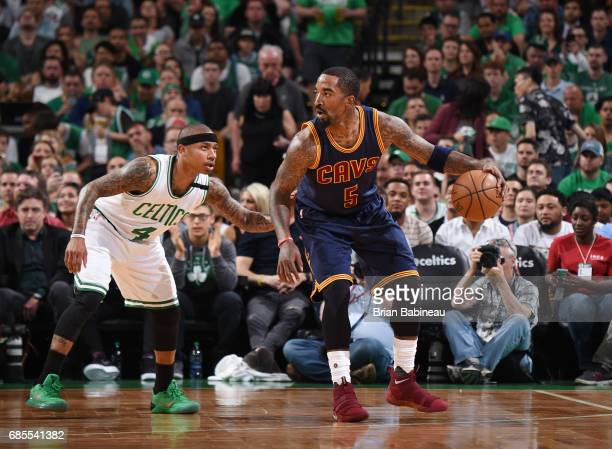 R Smith of the Cleveland Cavaliers handles the ball against the Boston Celtics during Game Two of the Eastern Conference Finals of the 2017 NBA...
