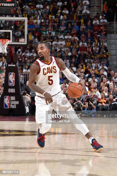 Smith of the Cleveland Cavaliers handles the ball against the Boston Celtics on October 17 2017 at Quicken Loans Arena in Cleveland Ohio NOTE TO USER...