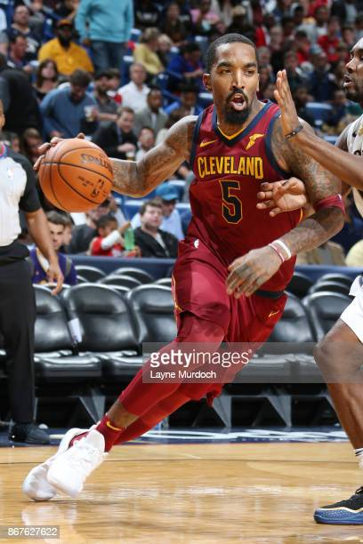 Smith of the Cleveland Cavaliers handles the ball against the New Orleans Pelicans on October 28 2017 at the Smoothie King Center in New Orleans...