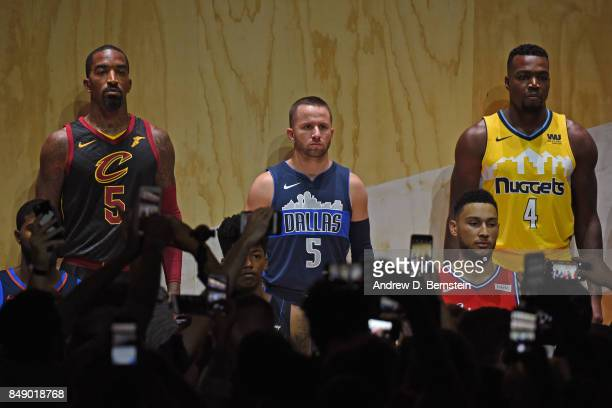 Smith of the Cleveland Cavaliers JJ Barea of the Dallas Mavericks and Paul Millsap of the Denver Nuggets help unveil new uniforms during the Nike...