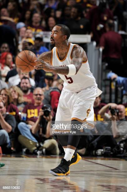 R Smith of the Cleveland Cavaliers passes the ball against the Boston Celtics during Game Three of the Eastern Conference Finals of the 2017 NBA...