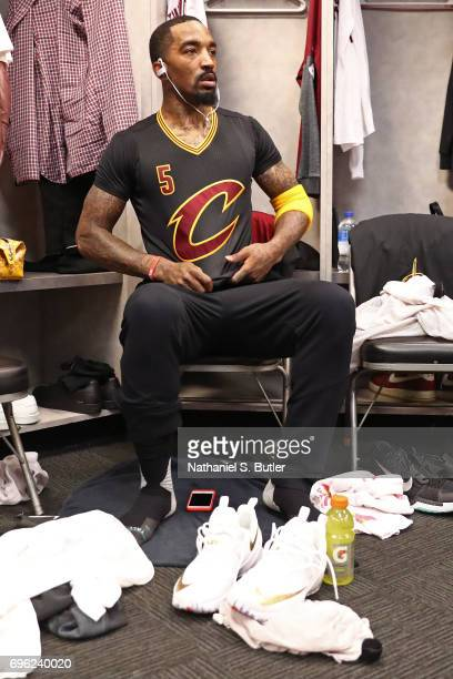 Smith of the Cleveland Cavaliers puts his jersey on in the locker room before Game Five of the 2017 NBA Finals against the Golden State Warriors on...