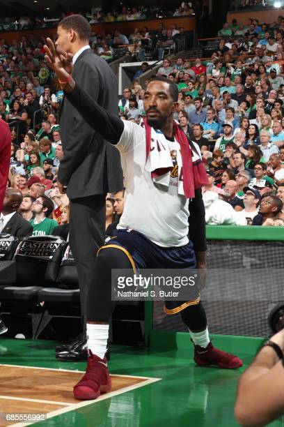 R Smith of the Cleveland Cavaliers reacts during the game against the Boston Celtics in Game Two of the Eastern Conference Finals during the 2017 NBA...