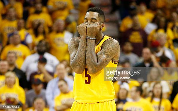 R Smith of the Cleveland Cavaliers reacts in the second quarter against the Atlanta Hawks during Game Three of the Eastern Conference Finals of the...