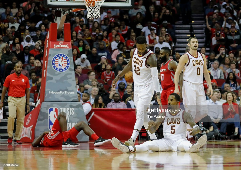 JR Smith #5 of the Cleveland Cavaliers reacts to a foul in the second half against the Houston Rockets at Toyota Center on November 09, 2017 in Houston, Texas.