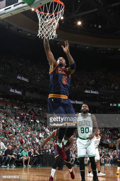 R Smith of the Cleveland Cavaliers shoots a lay up against the Boston Celtics in Game One of the Eastern Conference Finals during the 2017 NBA...