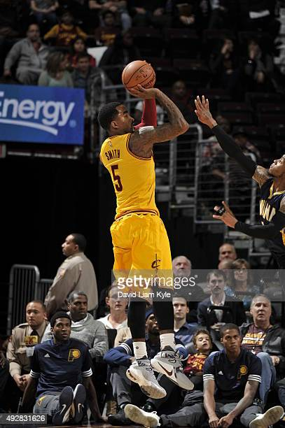 R Smith of the Cleveland Cavaliers shoots against the Indiana Pacers on October 15 2015 at Quicken Loans Arena in Cleveland Ohio NOTE TO USER User...