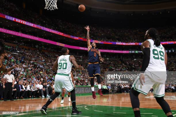 R Smith of the Cleveland Cavaliers shoots the ball against the Boston Celtics during Game Two of the Eastern Conference Finals of the 2017 NBA...