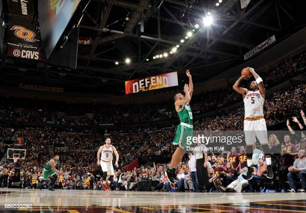 R Smith of the Cleveland Cavaliers shoots the ball against the Boston Celtics during Game Three of the Eastern Conference Finals of the 2017 NBA...