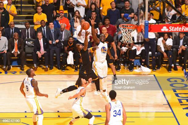 Smith of the Cleveland Cavaliers shoots the ball over Draymond Green of the Golden State Warriors in Game Five of the 2017 NBA Finals on June 12 2017...