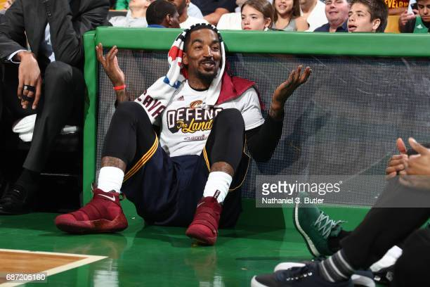 R Smith of the Cleveland Cavaliers sits by the scorers table during Game Two of the Eastern Conference Finals against the Boston Celtics during the...