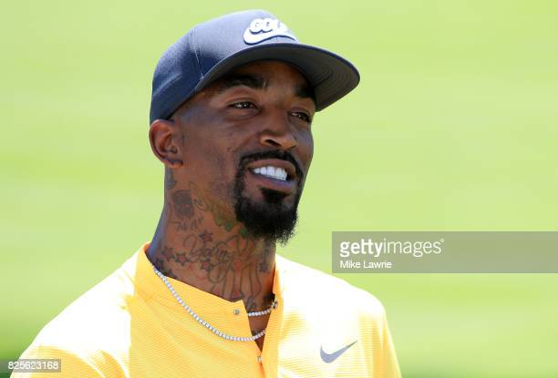 R Smith of the Cleveland Cavaliers speaks to media during a preview day of the World Golf Championships Bridgestone Invitational at Firestone Country...