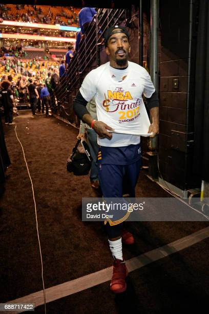 R Smith of the Cleveland Cavaliers walks off the court after winning Game Five of the Eastern Conference Finals against the Boston Celtics during the...