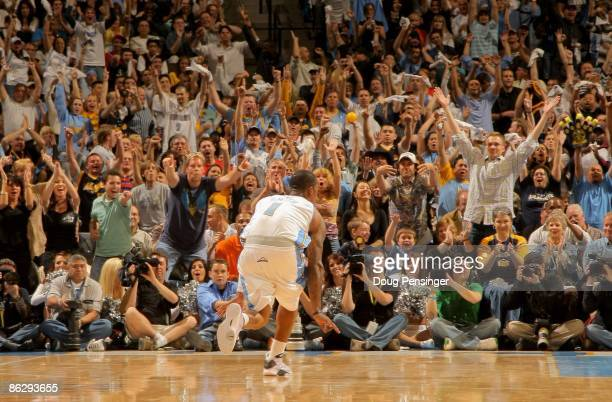 R Smith of the Denver Nuggets celebrates a three point goal against the New Orleans Hornets to the delight of the crowd in Game Five of the Western...
