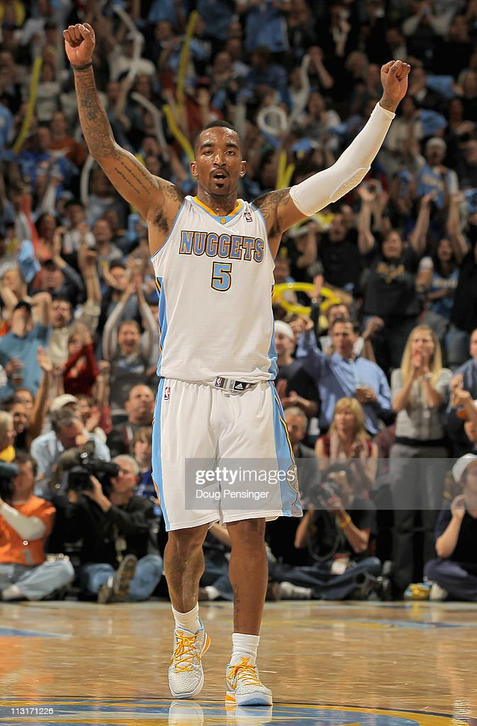 <a gi-track='captionPersonalityLinkClicked' href=/galleries/search?phrase=J.R.+Smith&family=editorial&specificpeople=201766 ng-click='$event.stopPropagation()'>J.R. Smith</a> #5 of the Denver Nuggets reacts after scoring against the Oklahoma City Thunder in Game Four of the Western Conference Quarterfinals in the 2011 NBA Playoffs on April 24, 2011 at the Pepsi Center in Denver, Colorado.