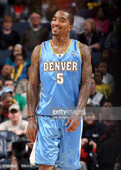 R Smith of the Denver Nuggets smiles during a game against the Memphis Grizzlies on March 13 2010 at FedExForum in Memphis Tennessee NOTE TO USER...