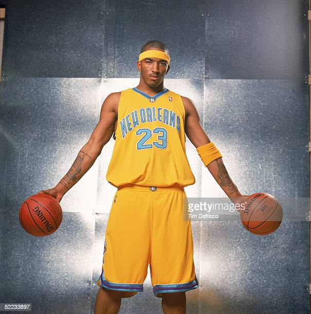 R Smith of the New Orleans Hornets poses for a portrait prior to competing in the Sprite Rising Stars Slam Dunk contest during 2005 NBA AllStar...