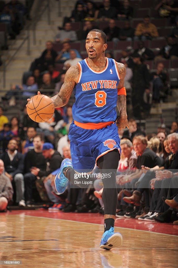 <a gi-track='captionPersonalityLinkClicked' href=/galleries/search?phrase=J.R.+Smith&family=editorial&specificpeople=201766 ng-click='$event.stopPropagation()'>J.R. Smith</a> #8 of the New York Knicks brings the ball up court during the game between the Detroit Pistons and the Atlanta Hawks on March 6, 2013 at The Palace of Auburn Hills in Auburn Hills, Michigan.