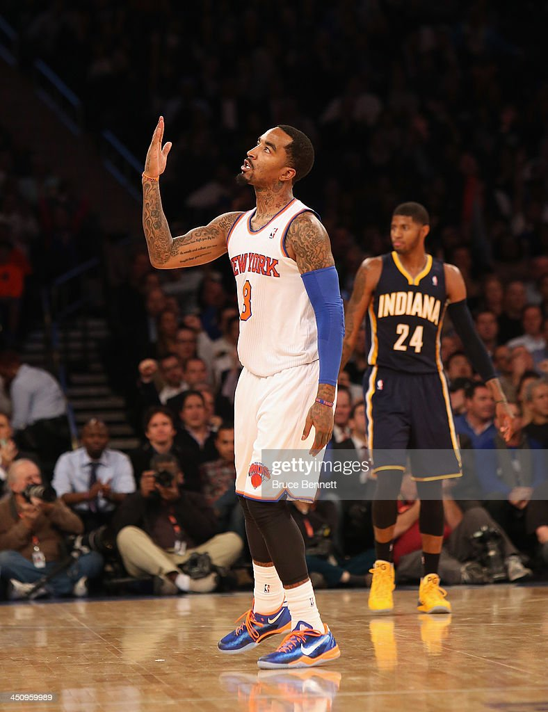 J.R. Smith #8 of the New York Knicks celebrates his three pointer against the Indiana Pacers at Madison Square Garden on November 20, 2013 in New York City.