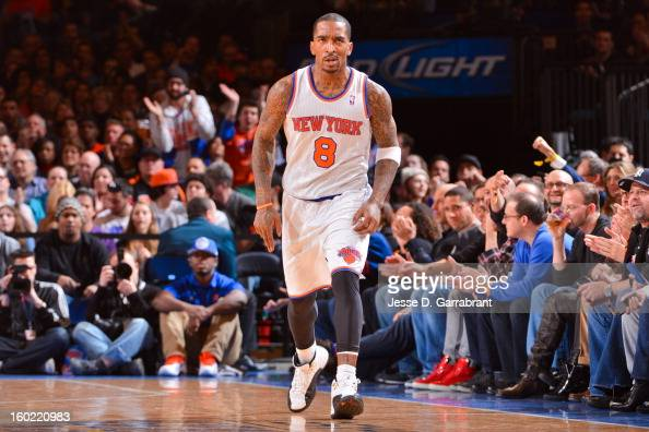 R Smith of the New York Knicks celebrates while playing the Atlanta Hawks at Madison Square Garden on January 27 2013 in New York New York NOTE TO...