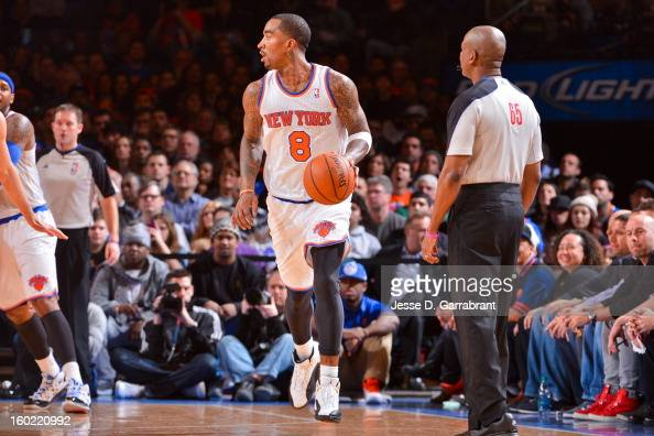 R Smith of the New York Knicks controls the ball against the Atlanta Hawks at Madison Square Garden on January 27 2013 in New York New York NOTE TO...
