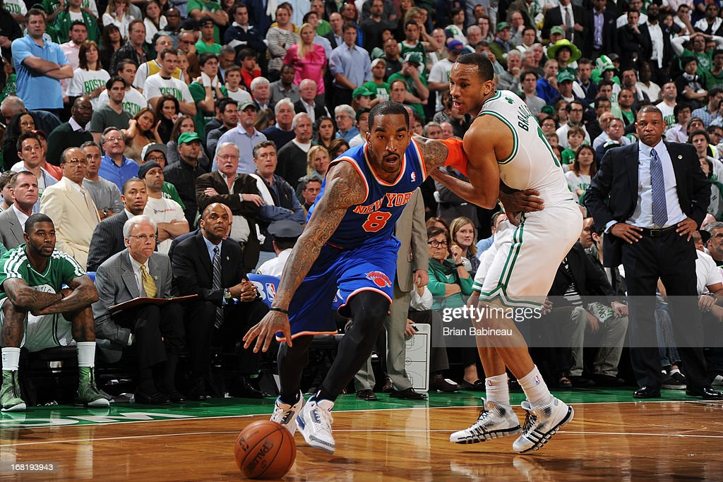 J.R. Smith #8 of the New York Knicks drives against Avery Bradley #0 of the Boston Celtics in Game Six of the Eastern Conference Quarterfinals during the NBA Playoffs on May 3, 2013 at the TD Garden in Boston, Massachusetts.