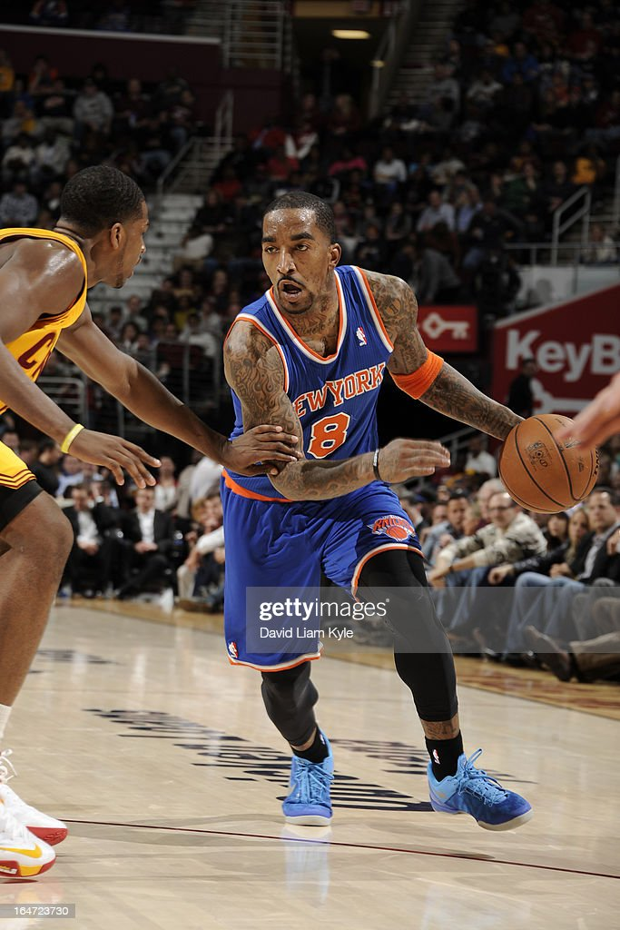 <a gi-track='captionPersonalityLinkClicked' href=/galleries/search?phrase=J.R.+Smith&family=editorial&specificpeople=201766 ng-click='$event.stopPropagation()'>J.R. Smith</a> #8 of the New York Knicks drives against the Cleveland Cavaliers at The Quicken Loans Arena on March 4, 2013 in Cleveland, Ohio.