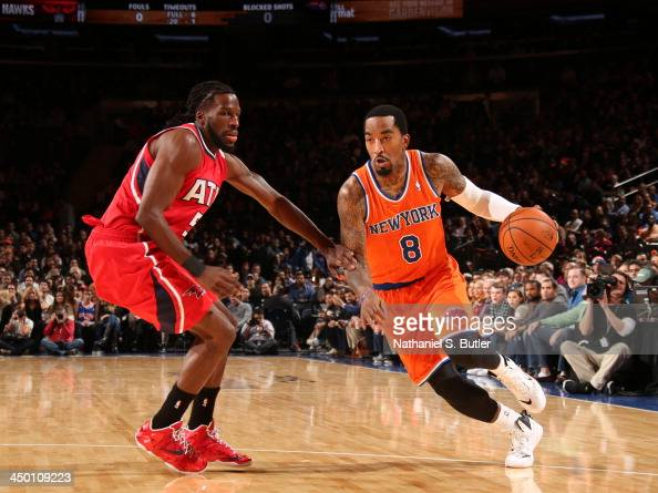 R Smith of the New York Knicks drives during a game against the Atlanta Hawks at Madison Square Garden in New York City on November 16 2013 NOTE TO...