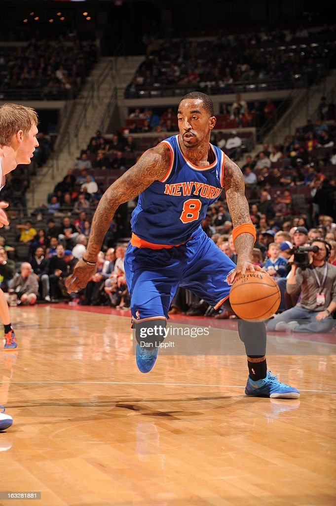 J.R. Smith #8 of the New York Knicks drives during the game between the Detroit Pistons and the Atlanta Hawks on March 6, 2013 at The Palace of Auburn Hills in Auburn Hills, Michigan.