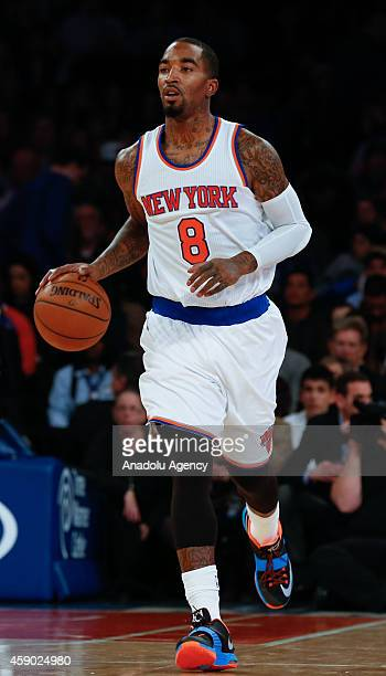 R Smith of the New York Knicks drives the ball against the Utah Jazz during an NBA game at Madison Square Garden on November 14 2014 in New York City