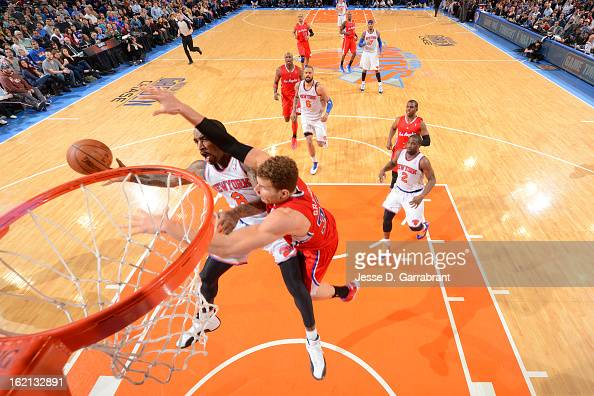R Smith of the New York Knicks drives to the basket against Blake Griffin of the Los Angeles Clippers on February 10 2013 at Madison Square Garden in...