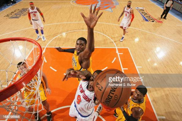 R Smith of the New York Knicks drives to the basket against Roy Hibbert of the Indiana Pacers in Game Two of the Eastern Conference Semifinals during...