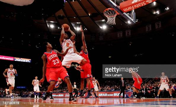 R Smith of the New York Knicks drives to the basket against the Philadelphia 76ers at Madison Square Garden on March 11 2012 in New York City NOTE TO...