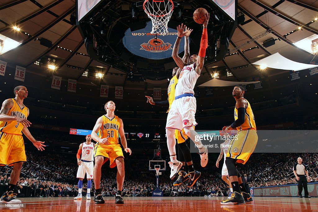 J.R. Smith #8 of the New York Knicks drives to the basket against the Indiana Pacers in Game Two of the Eastern Conference Semifinals during the 2013 NBA Playoffs on May 7, 2013 at Madison Square Garden in New York City.