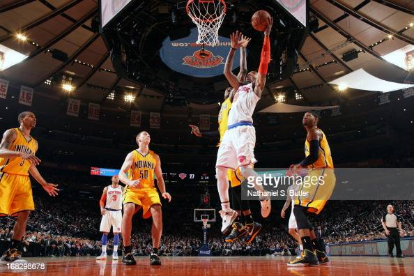 R Smith of the New York Knicks drives to the basket against the Indiana Pacers in Game Two of the Eastern Conference Semifinals during the 2013 NBA...