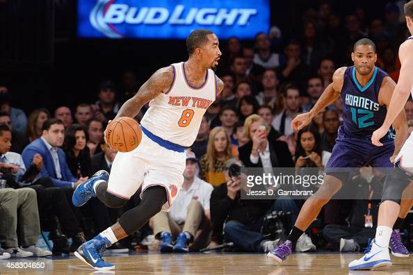 R Smith of the New York Knicks drives to the basket against the Charlotte Hornetsduring the game on November 2 2014 at Madison Square Garden in New...