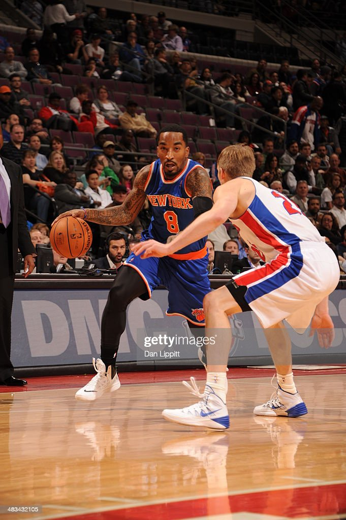 J.R. Smith #8 of the New York Knicks drives to the basket during the game against the Detroit Pistons on November 19, 2013 at The Palace of Auburn Hills in Auburn Hills, Michigan.