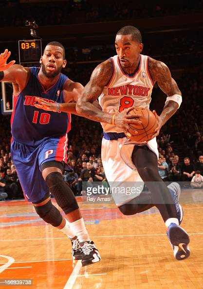 R Smith of the New York Knicks drives to the basket vs the Detroit Pistons on November 25 2012 at Madison Square Garden in the Manhattan Borough of...