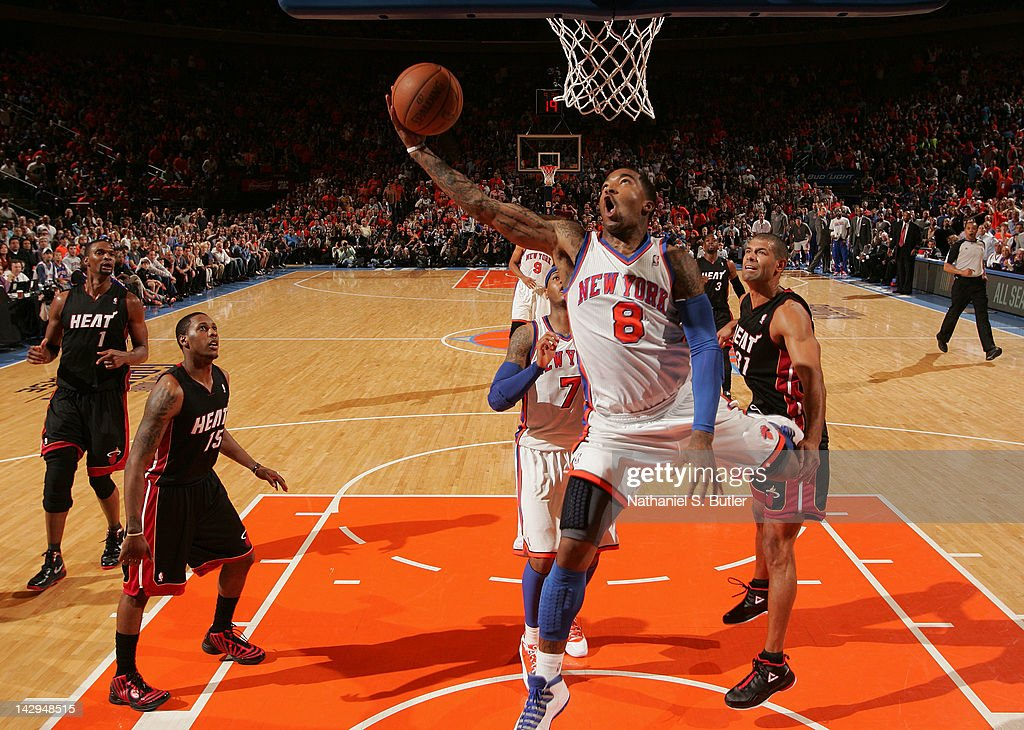 R Smith of the New York Knicks goes to the basket during the game against the Miami Heat on April 15 2012 at Madison Square Garden in New York City...